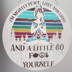 Round wall art  - peace, love and light
