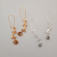 Gold and silver lizard charm animal earrings