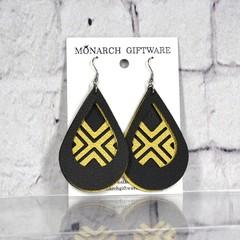 Black & Gold Vegan Leather 3 Layer Teardrop Earrings (geometric cross)
