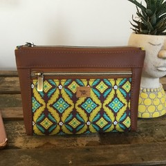 Dbl. Zip Pouch - Lime & Teal Leaf/Brown Faux Leather