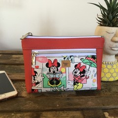 Dbl. Zip Pouch - Minnie/Red Faux Leather