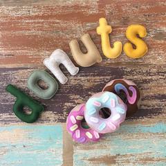Value pack of 3, Felt donuts, play food, pincushion, doughnuts, room decor