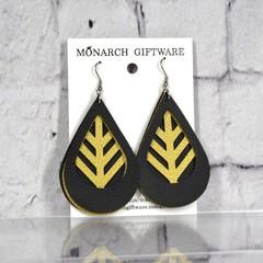 Black & Gold Vegan Leather 3 Layer Teardrop Earrings (leaves)