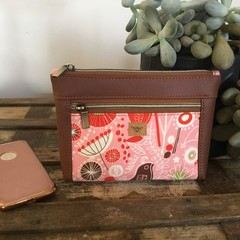Dbl. Zip Pouch - Pink & Red Floral/Brown Faux Leather