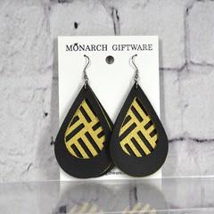 Black & Gold Vegan Leather 3 Layer Teardrop Earrings (geometric lines)