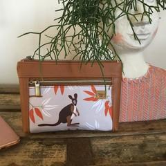 Dbl. Zip Pouch - Kangaroo /Tan Faux Leather