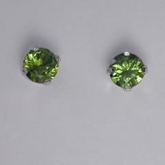 Solid 9K White Gold Green Sapphire Stud Earrings