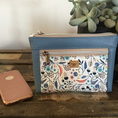 Dbl. Zip Pouch - Acorns & Leaves/Blue Faux Leather