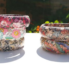 Liberty print bangles in paisley, wildflowers, floral prints