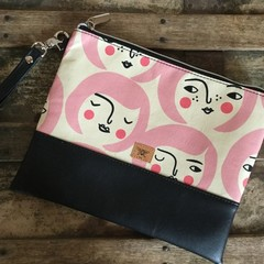Flat Clutch - Faces with Lt Pink Hair/Black Faux Leather