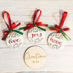Christmas Tree Ornament- Joy, Love, Hope Set of 3 white acrylic ornaments