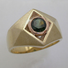 9ct Yellow and Rose Gold Blue Parti Sapphire Ring