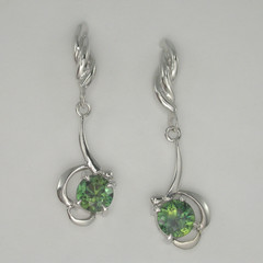 Solid 9ct White Gold Green Parti Sapphire Drop Earring