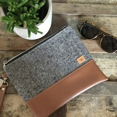 Flat Clutch - BLack & White Woven Woollen Fabric/Brown Faux Leather