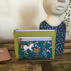 Dbl. Zip Pouch - Unicorn on Teal/Lime Faux Leather