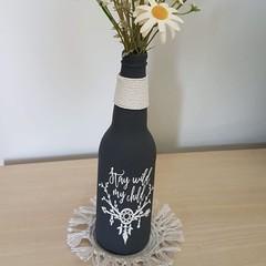 Upcycled bottle vase - small - grey Wild child