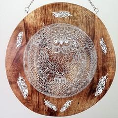 Wooden wall art/ cheese board - mandala owl