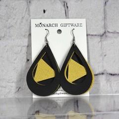 Black & Gold Vegan Leather 3 Layer Teardrop Earrings (triangle)