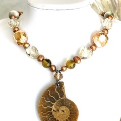 Natural AMMONITE Pendant on Crystal-like Beads and Pearl Beaded Necklace.