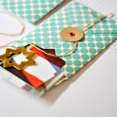 Button Tie Envelopes {2} Pockets Festive Green Dots | Handmade Button Envelope