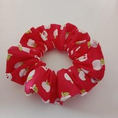 Red apple print hair accessory / scrunchie