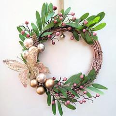 Rose Gold Christmas Wreath - Traditional Christmas Decor - Family Christmas Gift