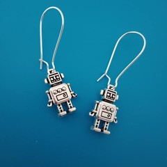Silver robot / computer charm earrnings