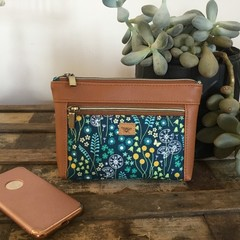 Dbl. Zip Pouch - Teal Floral/Tan Faux Leather
