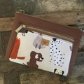 Dbl. Zip Pouch - Dogs/Brown Faux Leather