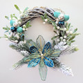 Glittery Turquoise Willow Christmas Wreath - Christmas Tradition - Gift for Home