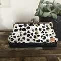 Large Kiss Lock Purse - Leopard Print in Black & Gold on White