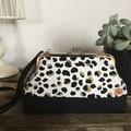 Small Kiss Lock Handbag - Leopard Print in Black & Gold on White