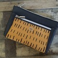 Dbl. Zip Pouch - Mustard/Black Faux Leather