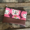Small Flat Clutch - Faces with Pink Hair/Brown Faux Leather