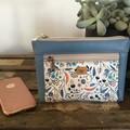 Dbl. Zip Pouch - Acorns & Leaves/Blue Faux Leather