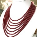 Genuine Indian Ruby Rondelle Beads, 7 Strands Handmade Necklace.