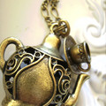 1x bronze charm necklace teapot & cup and saucer charm necklaces