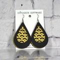 Black & Gold Vegan Leather 3 Layer Teardrop Earrings (mountains)