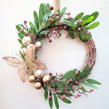 Rose Gold  Christmas Wreath - Twisted Vine Wreath with Butterfly & Pink Berries