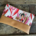Small Flat Clutch - Pink Proteas/Lt. Tan Faux Leather