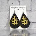 Black & Gold Vegan Leather 3 Layer Teardrop Earrings (geometric retangle)