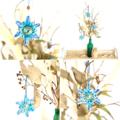 Christmas Tree Snowflake Ornament Tag Hanging Decoration Blue Set of 3-6