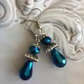 Crystal drop silver tone earrings