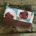 Small Flat Clutch - Faces with Lt. Pink Curly Hair/Brown Faux Leather