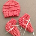 Italian Merino Wool Booties and Beanie Set