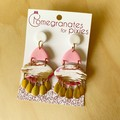 Nazar Statement Earrings inPink sorbet with Brass Tear Drops