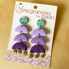 Lara Statement Earrings in Purple Ombre with Brass Disks