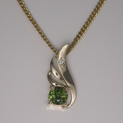 Solid 14ct Yellow Gold Green Sapphire and Diamond Pendant