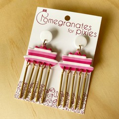 Kas Statement Earrings in Pink and White Stripes with Brass Drops