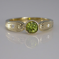 Solid 9ct Yellow Gold Green Sapphire and Diamond Ring
